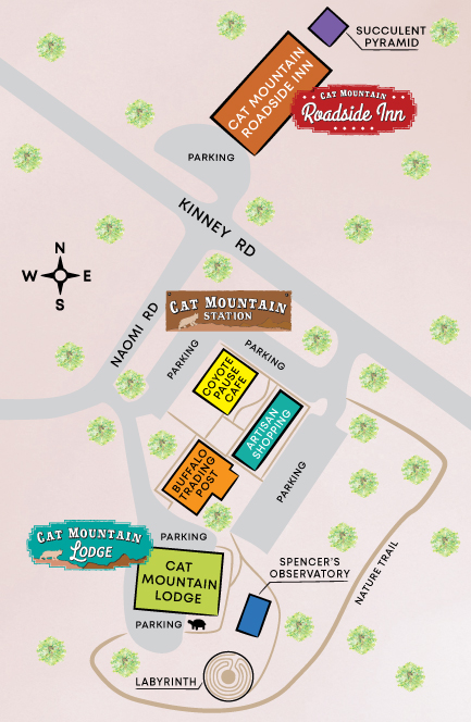 Map of Cat Mountain Station including locations of Cat Mountain Lodge & Roadside Inn, Coyote Pause Cafe, Spencer's Observatory, labyrinth, succulent pyramid, Buffalo Trading Post & more,