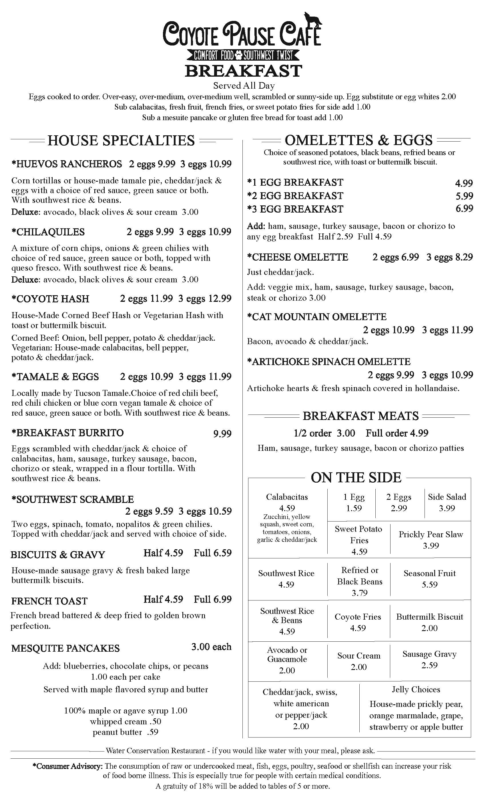 Coyote Pause Cafe Menu Front